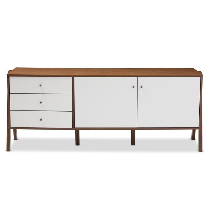 Bree Mid-Century Modern Scandinavian Style White and Walnut Wood Sideboard Storage Cabinet