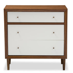 Harry Mid-Century White/walnut 3-Drawer Chest Free Shipping