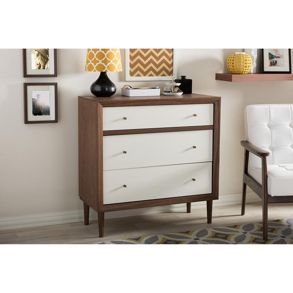 Harry Mid-Century White/Walnut 3-Drawer Chest - living-essentials