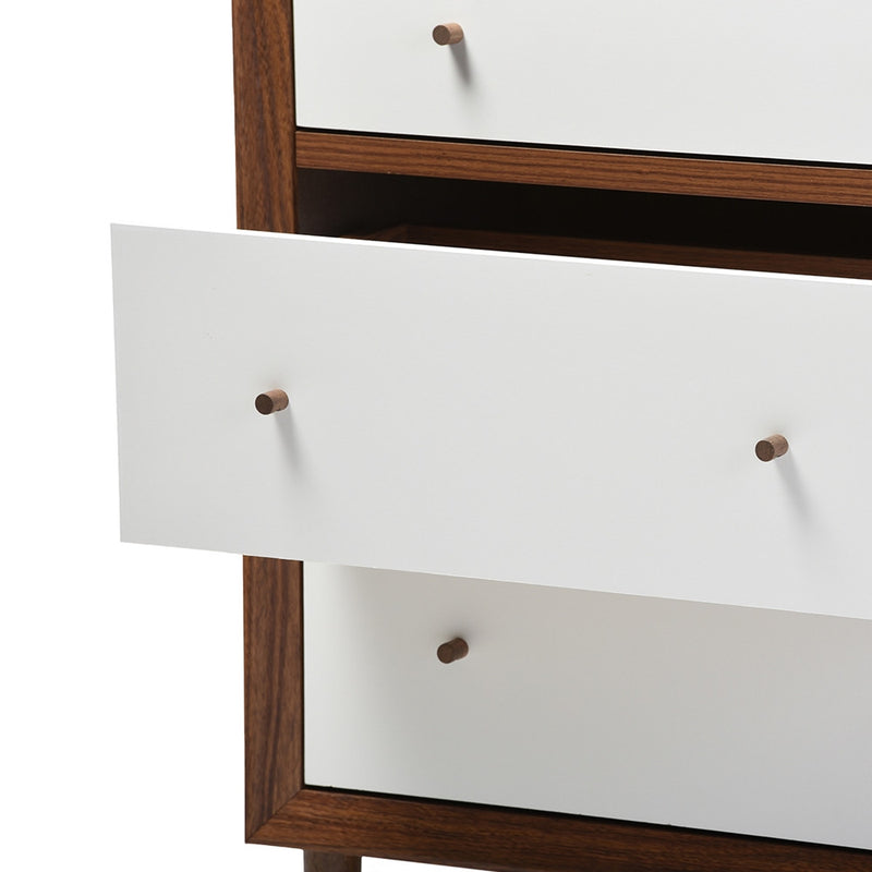 Harry Mid-Century White/Walnut 6-Drawer Dresser - living-essentials