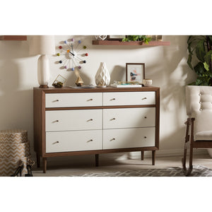 Harry Mid-Century White/walnut 6-Drawer Dresser Free Shipping