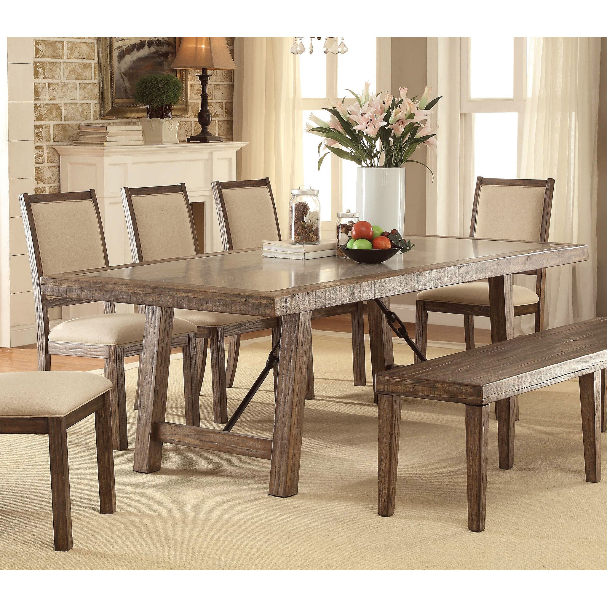 ... Sozier Contemporary Two Tone Dining Table In Rustic Oak , EMFURN   2 ...