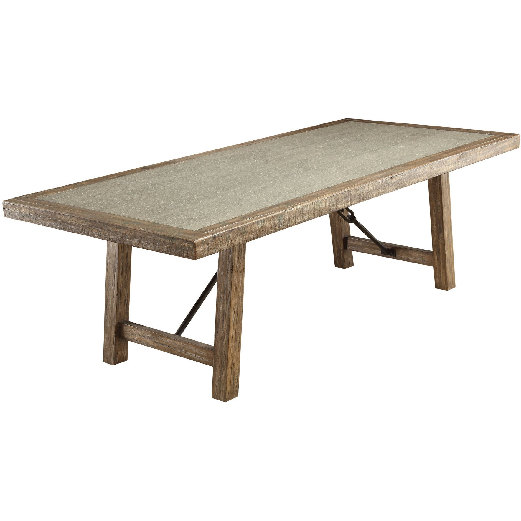 Sozier contemporary two tone dining table in rustic oak for Contemporary oak dining table