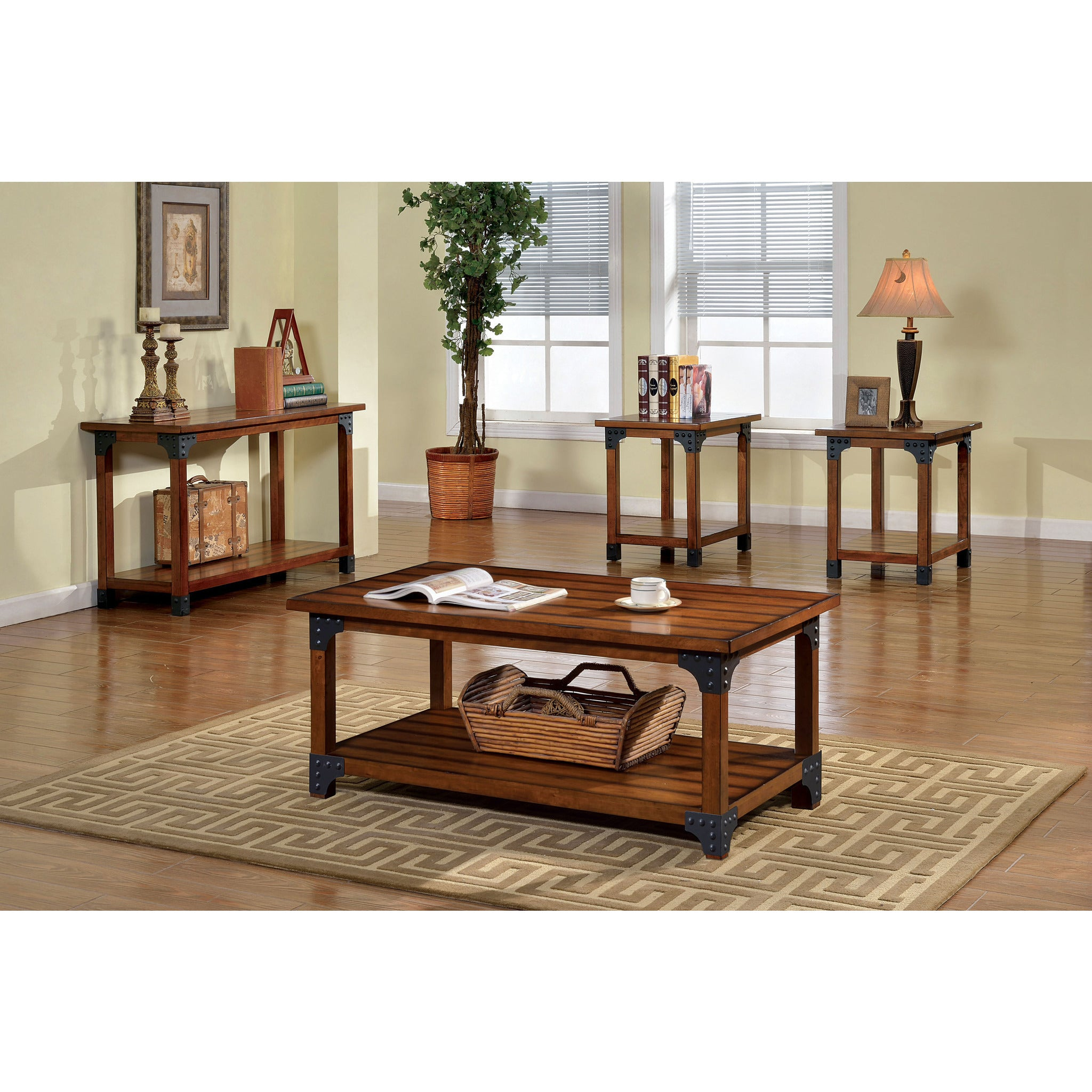 Millard Country Style 3 Piece Coffee and End Table Set in Antique