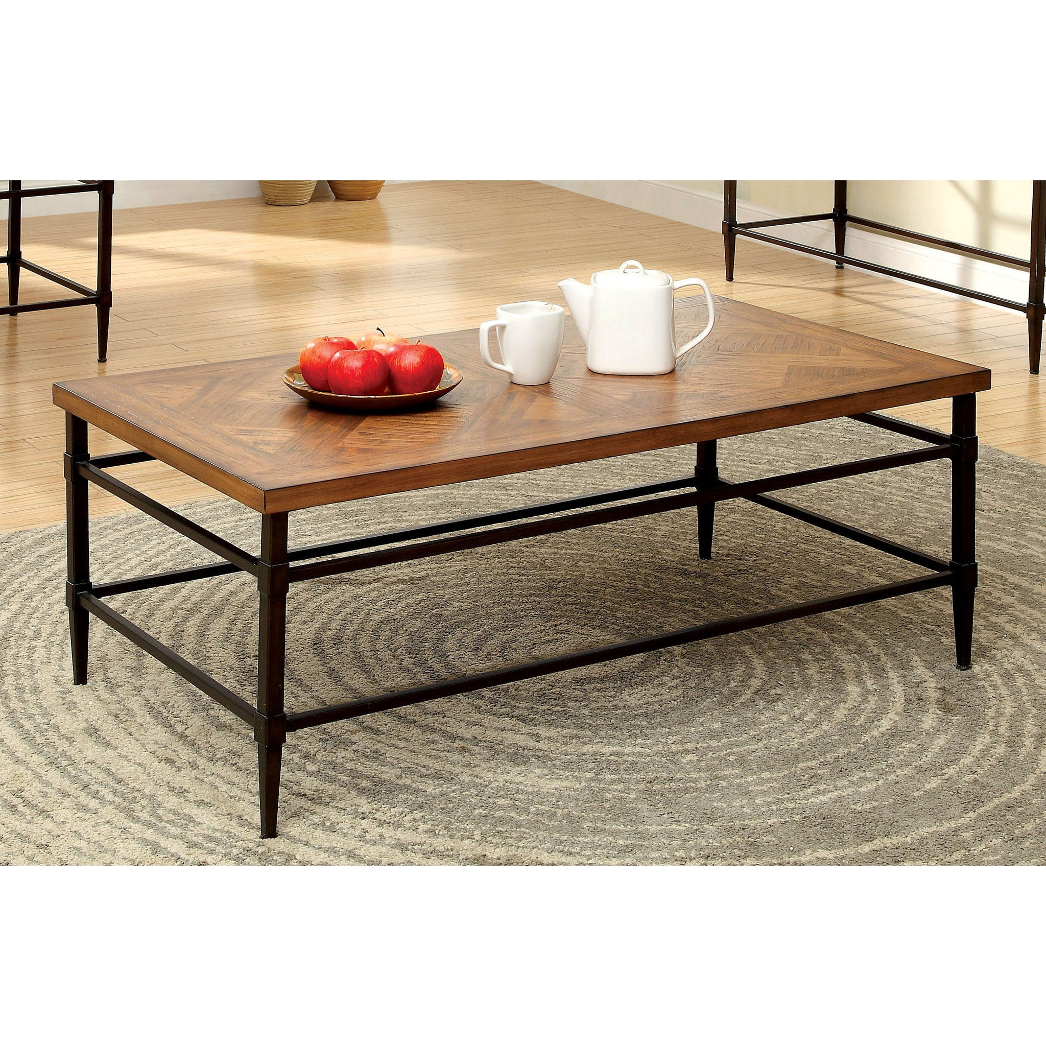 Suk Transitional Two Tone Coffee Table in Light Oak and Black EMFURN