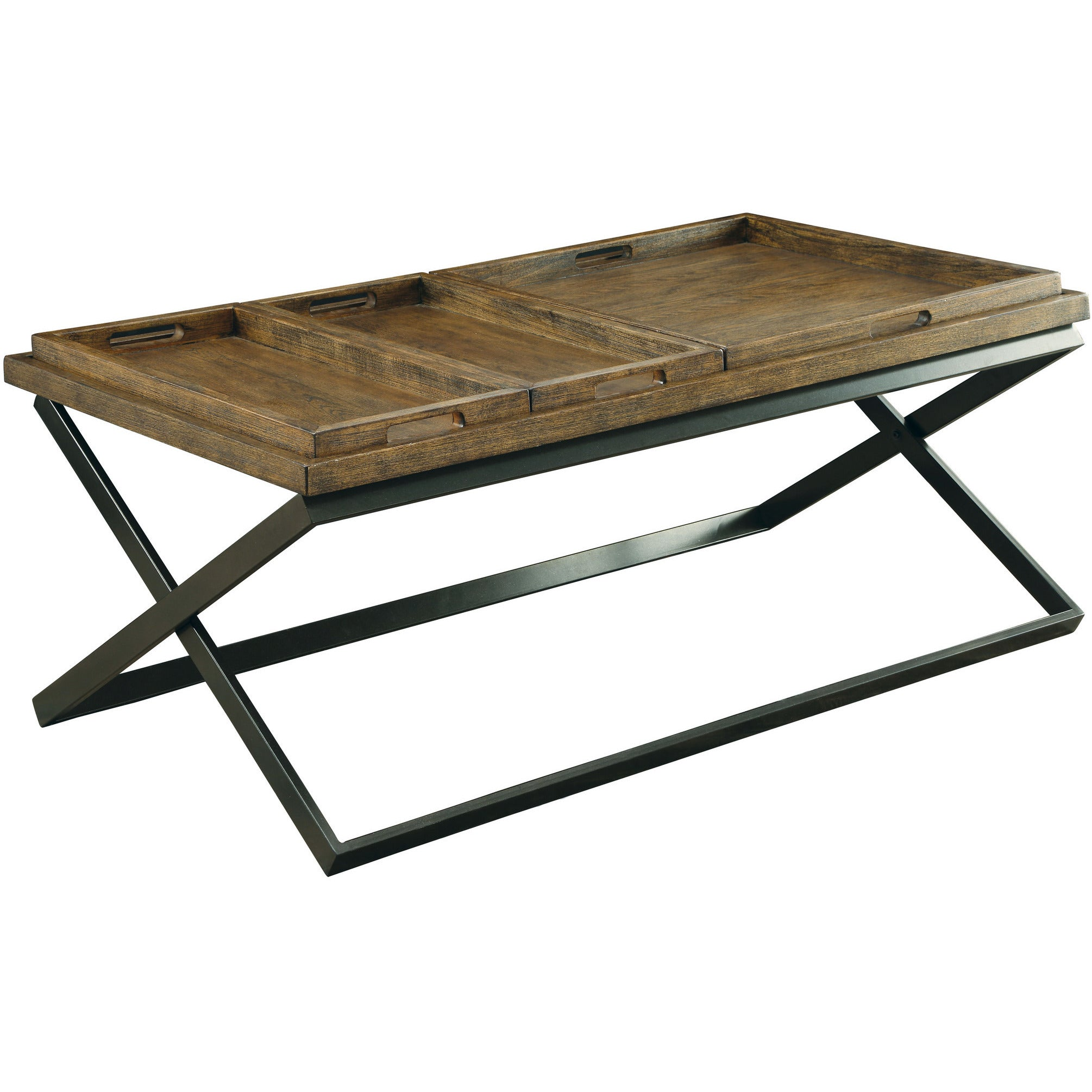 Jayda Transitional Tray Top Coffee Table in Medium Weathered Oak