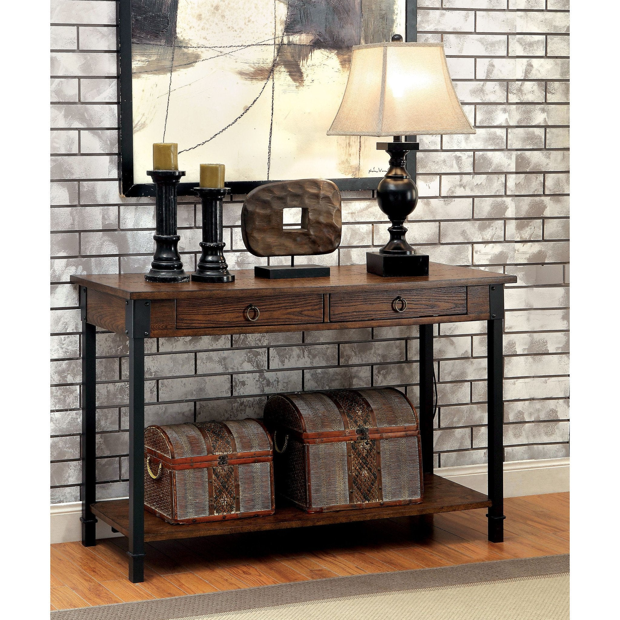 Rocco Transitional Plank Style Sofa Table In Medium Weathered Oak  ~ Transitional Sofa Tables