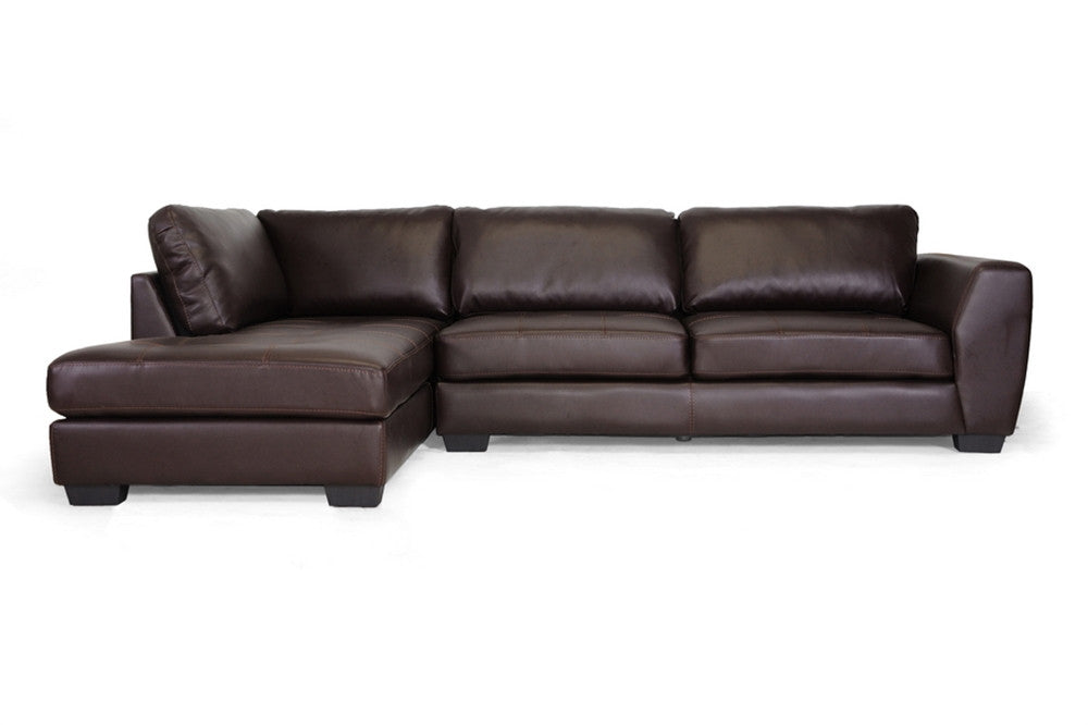 Ozzie Brown Leather Modern Sectional Sofa Set with Chaise - EMFURN