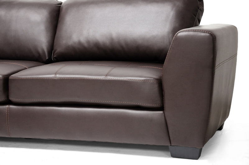 Ozzie Brown Leather Modern Sectional Sofa Set with Chaise - living-essentials