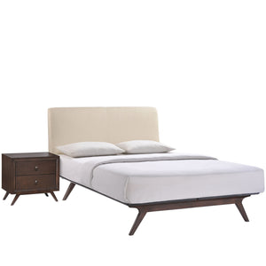 Truman Mid Century 2 Piece Queen Bedroom Set Cappuccino Beige Sets Free Shipping
