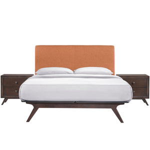 Truman Mid Century 3 Piece Queen Bedroom Set Cappuccinobeige Sets Free Shipping