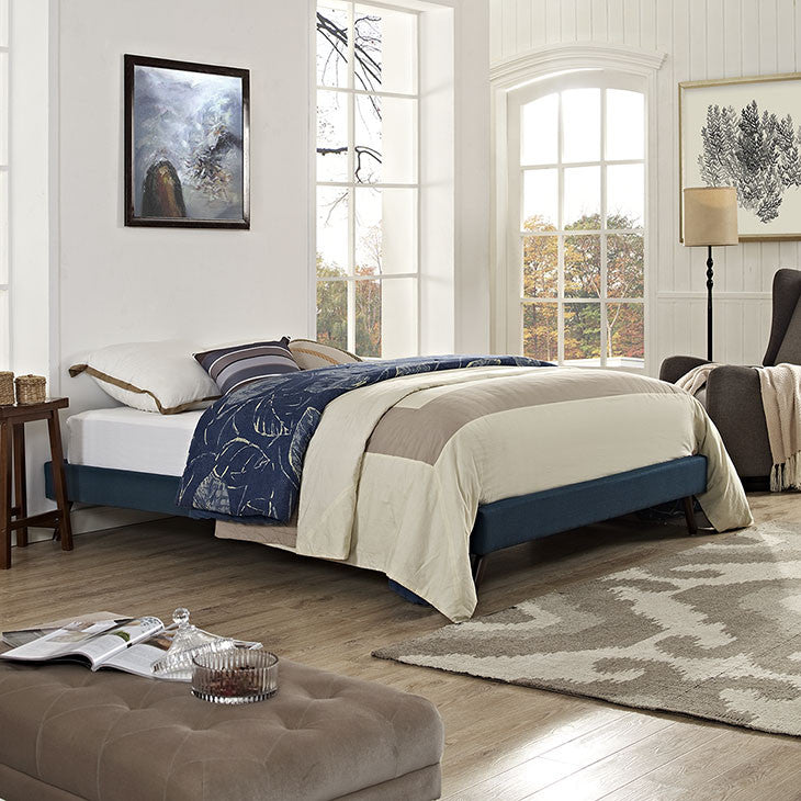 Troy Mid Century Queen Fabric Bed Frame - EMFURN