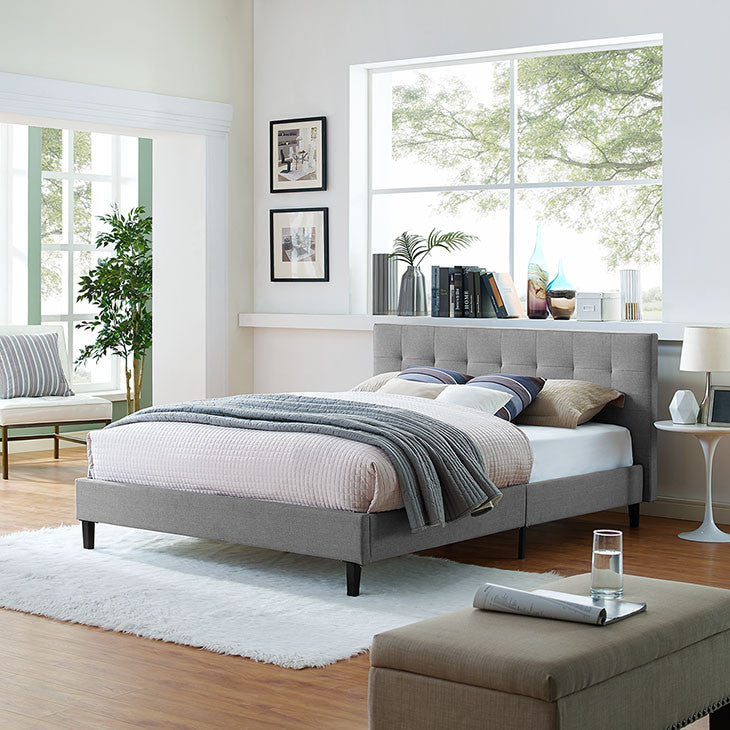 Linda Queen Fabric Bed Frame - living-essentials