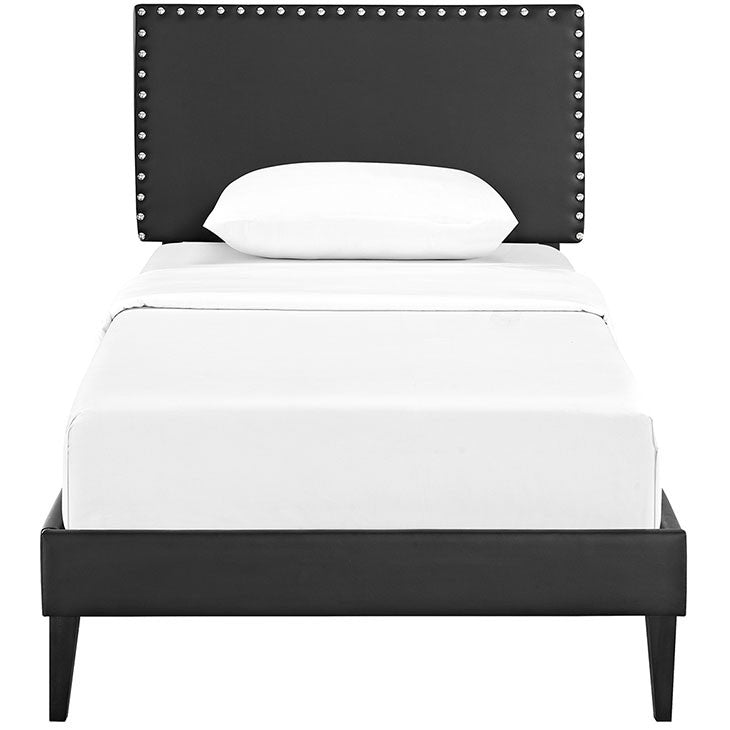 Lyka Twin Vinyl Platform Bed with Squared Tapered Legs - living-essentials