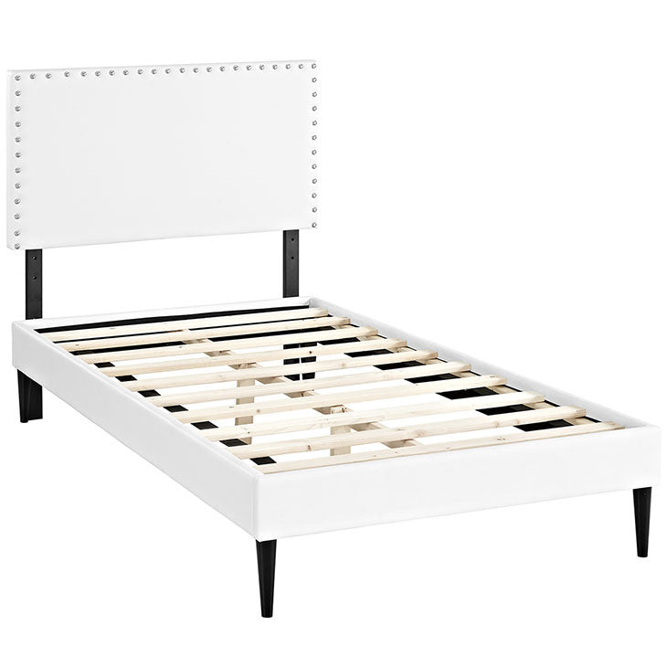 Lyka Twin Vinyl Platform Bed with Round Tapered Legs - living-essentials