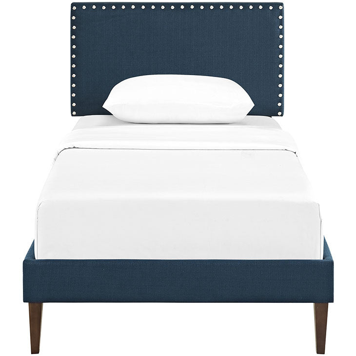 Lyka Twin Fabric Platform Bed with Squared Tapered Legs - living-essentials