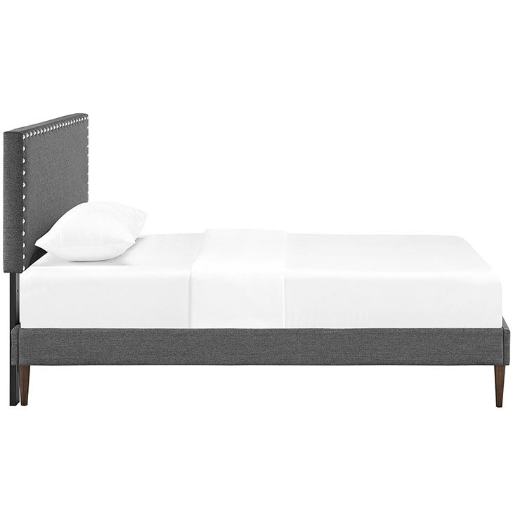 Lyka Twin Fabric Platform Bed with Round Tapered Legs - living-essentials