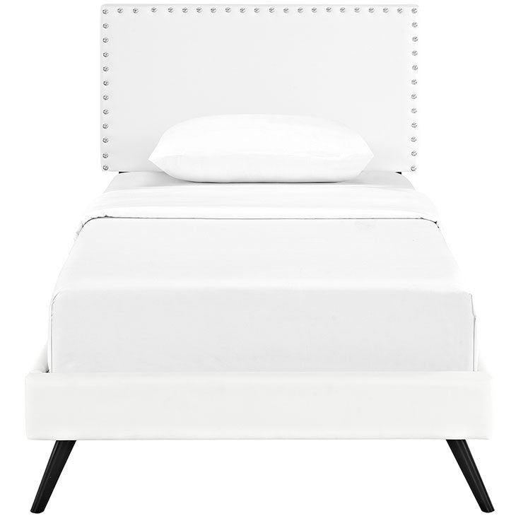 Lyka Twin Vinyl Platform Bed with Round Splayed Legs - living-essentials
