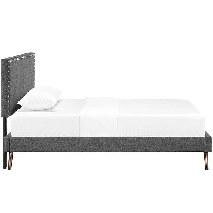 Lyka Twin Fabric Platform Bed with Round Splayed Legs - living-essentials