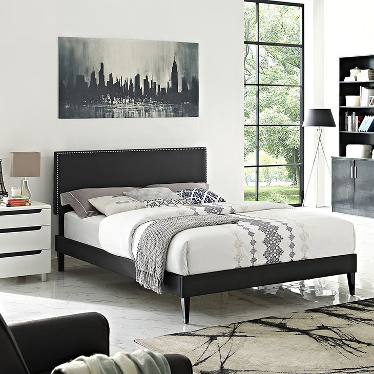 Lyka Queen Vinyl Platform Bed with Squared Tapered Legs - living-essentials