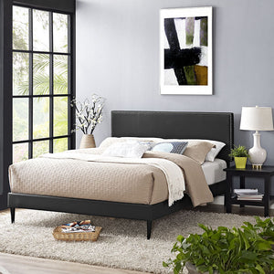 Lyka Queen Vinyl Platform Bed With Round Tapered Legs Black Frames Free Shipping