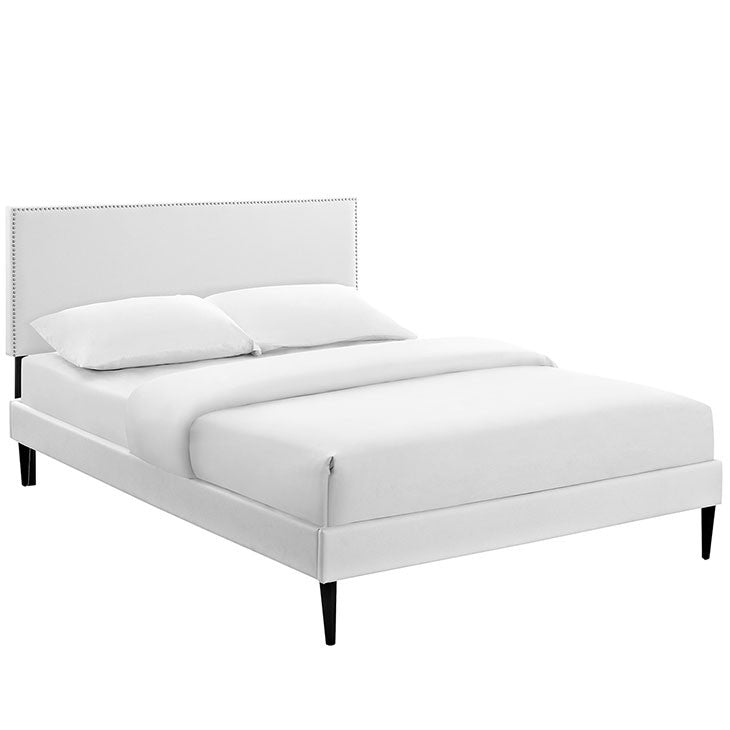 Lyka Queen Vinyl Platform Bed with Round Tapered Legs - living-essentials