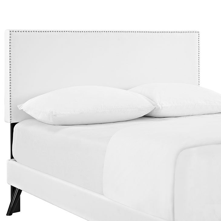 Lyka Full Vinyl Platform Bed with Round Splayed Legs - living-essentials
