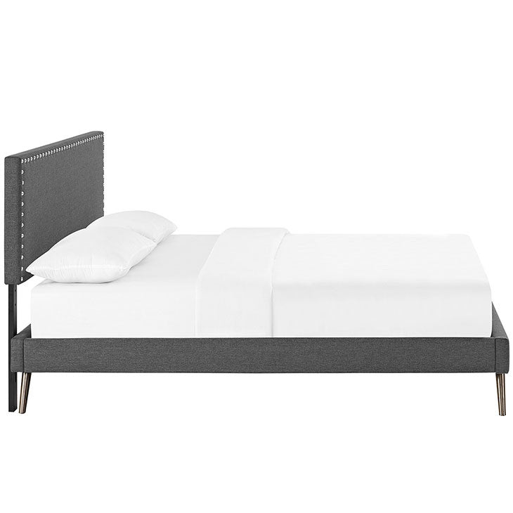 Lyka Full Fabric Platform Bed with Round Splayed Legs - living-essentials