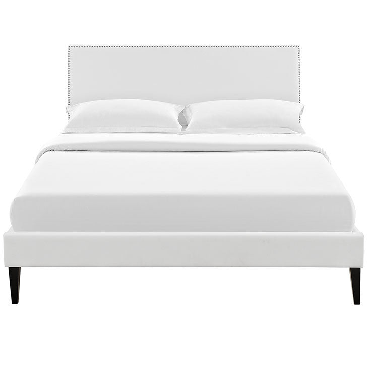 Lyka Full Vinyl Platform Bed with Squared Tapered Legs - living-essentials