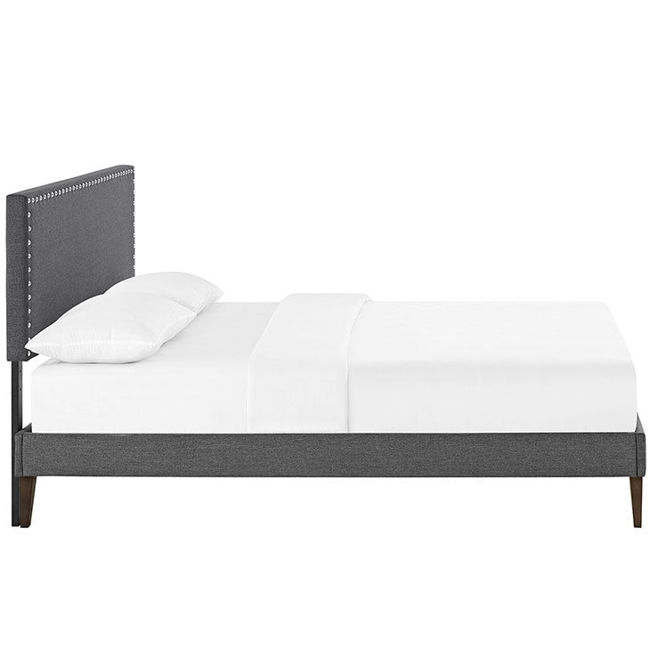 Lyka Full Fabric Platform Bed with Squared Tapered Legs - living-essentials