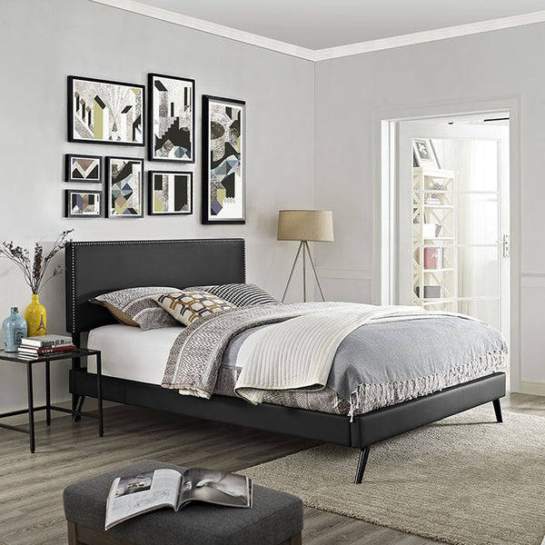 Lyka Queen Vinyl Platform Bed with Round Splayed Legs - living-essentials