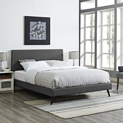 Lyka Queen Fabric Platform Bed with Round Splayed Legs - living-essentials