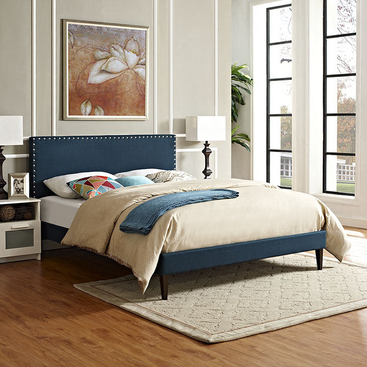 Lyka Queen Fabric Platform Bed with Squared Tapered Legs - living-essentials