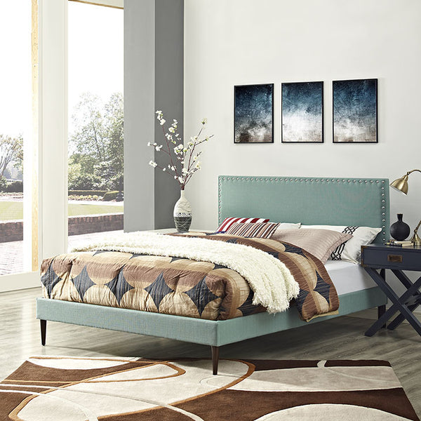 Lyka Queen Fabric Platform Bed with Round Tapered Legs - living-essentials