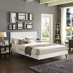 Lyka King Vinyl Platform Bed with Round Splayed Legs - living-essentials
