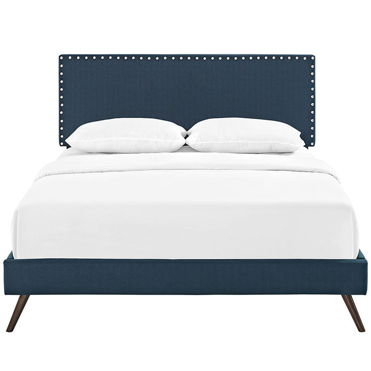 Lyka King Fabric Platform Bed with Round Splayed Legs - living-essentials