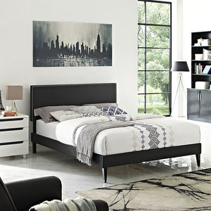 Lyka King Vinyl Platform Bed With Squared Tapered Legs Black Frames Free Shipping