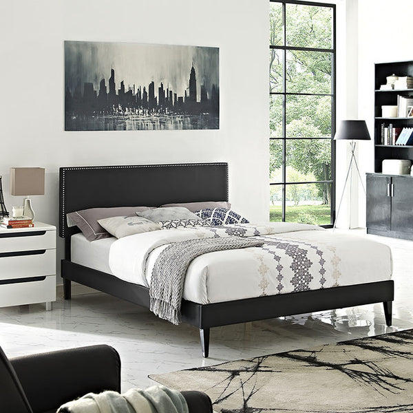 Lyka King Vinyl Platform Bed with Squared Tapered Legs - living-essentials