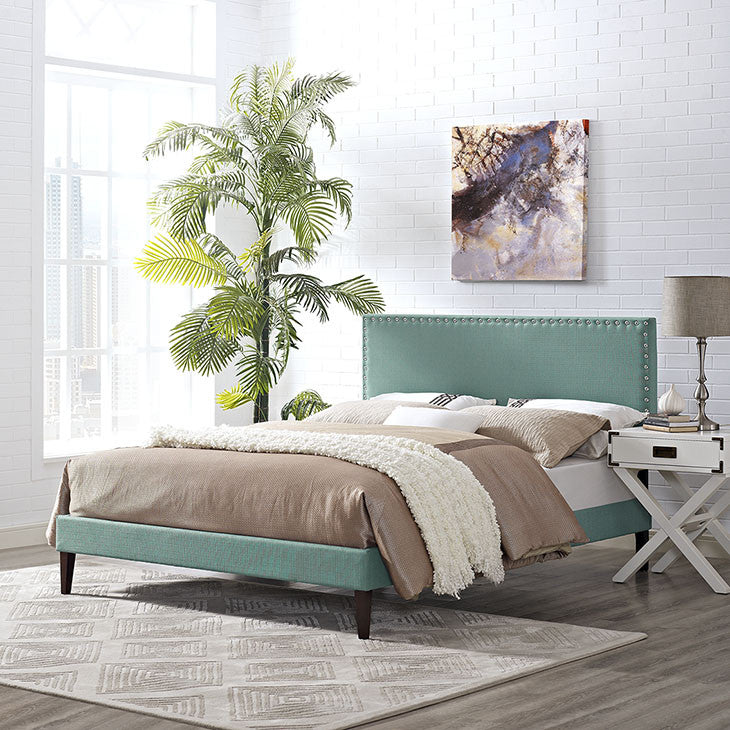 Lyka King Fabric Platform Bed with Squared Tapered Legs - living-essentials