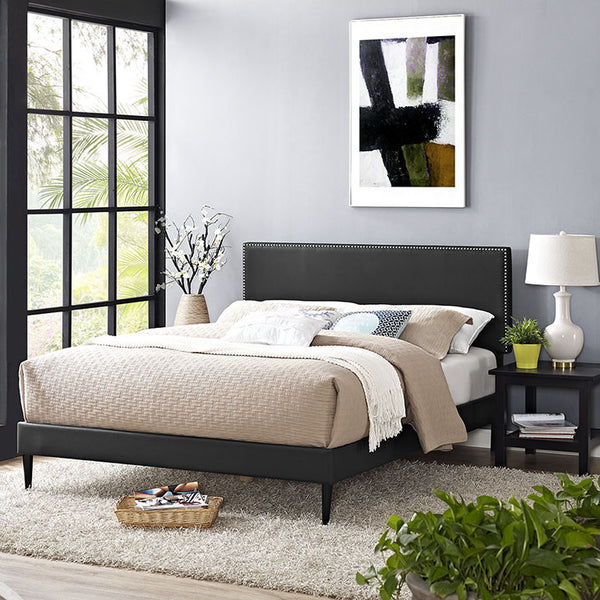 Lyka King Vinyl Platform Bed with Round Tapered Legs - living-essentials