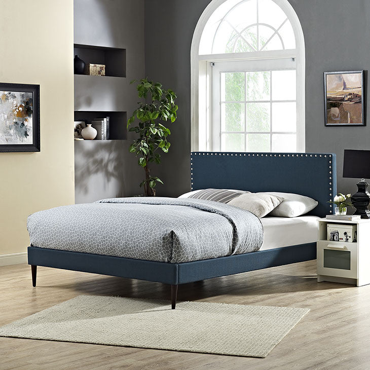 Lyka King Fabric Platform Bed with Round Tapered Legs - living-essentials