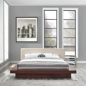 Fiona Queen Fabric Platform Bed Walnut Beige Frames Free Shipping