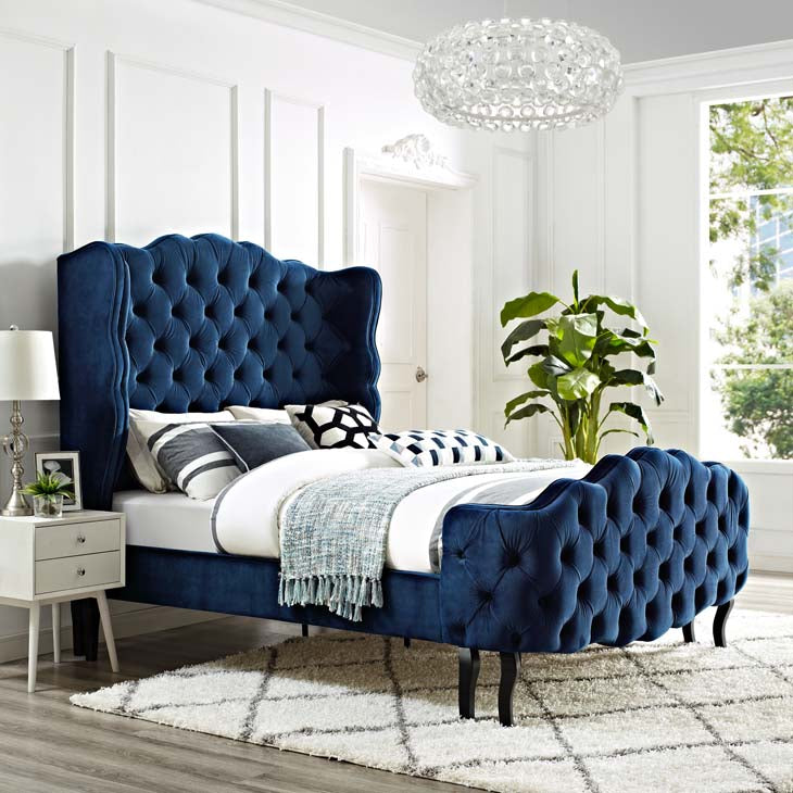Violin Queen Tufted Wingback Performance Velvet Platform Bed - living-essentials