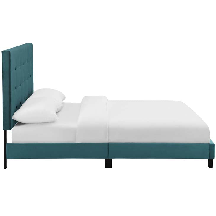 Mariah Queen Tufted Button Upholstered Performance Velvet Platform Bed - living-essentials