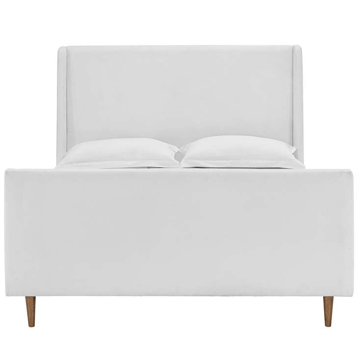 Aubree Queen Upholstered Fabric Sleigh Platform Bed - living-essentials