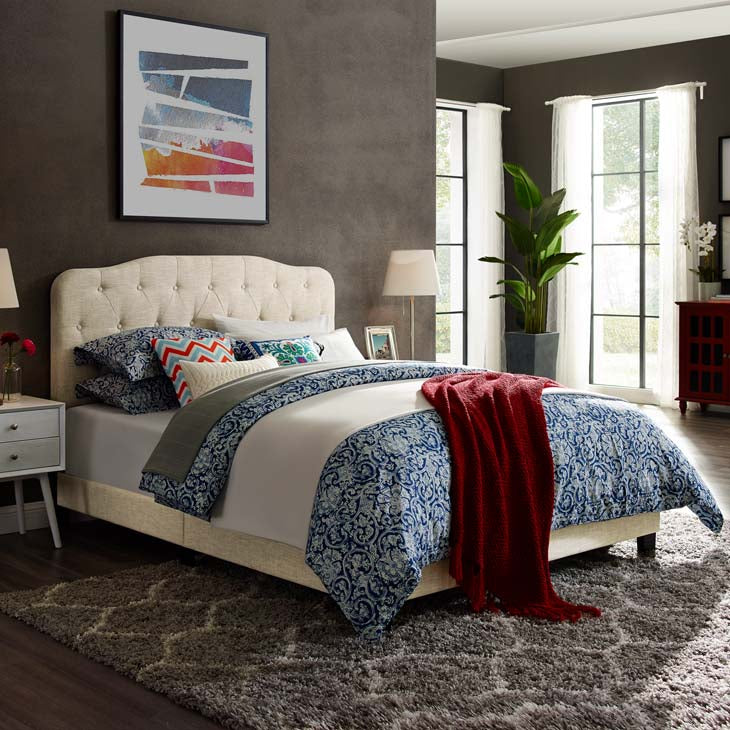 Alicia King Upholstered Fabric Bed - living-essentials