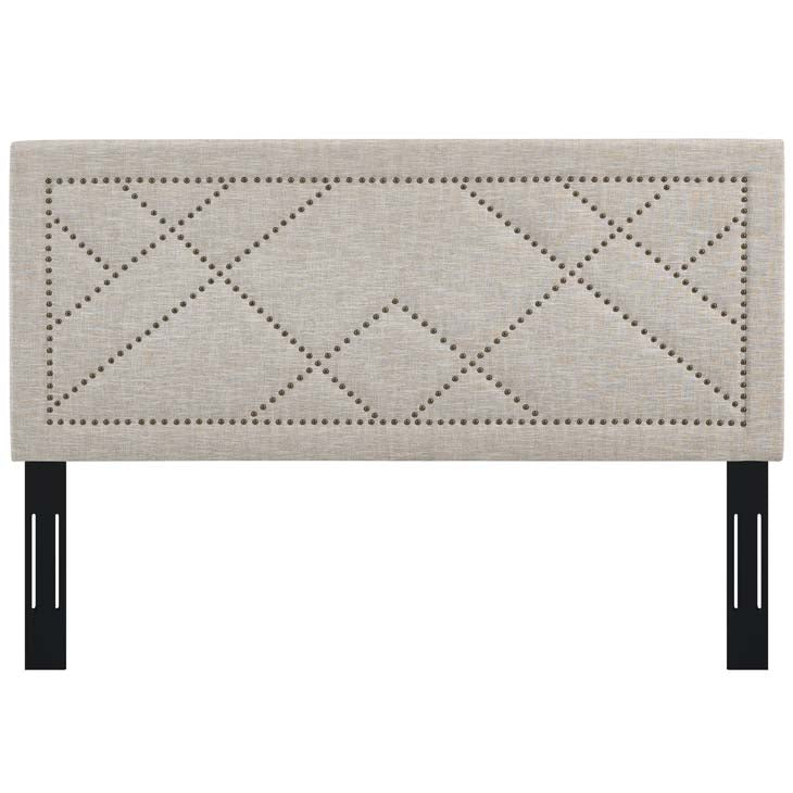 Rachel Nailhead Full / Queen Upholstered Linen Fabric Headboard - living-essentials