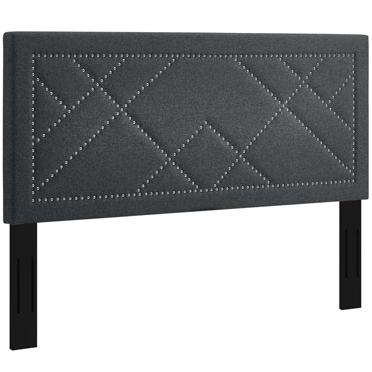 Rachel Nailhead King and California King Upholstered Linen Fabric Headboard - living-essentials