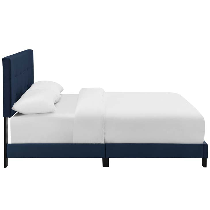 Amia Twin Upholstered Velvet Bed - living-essentials