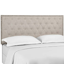 Hakeem Tufted King and California King Upholstered Linen Fabric Headboard - living-essentials